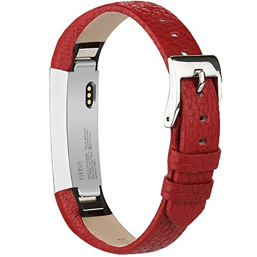 AK Bands Compatible with Fitbit Alta/Alta HR, Adjustable Comfortable Leather Wristbands Compatible for Fitbit Alta HR 2017/Fitbit Alta (Red)