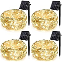 4 Pack Solar String Lights for Garden Patio Christmas Tree Indoor Bedroom, 100 LEDs Decorative Fairy Lighting Copper…
