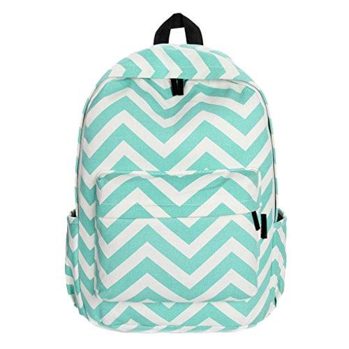 Fulltime (TM) mujeres double-shoulder Sweet rayas lienzo mochila escolar bolsas, Infantil, negro, 41cmX30cmX14cm verde