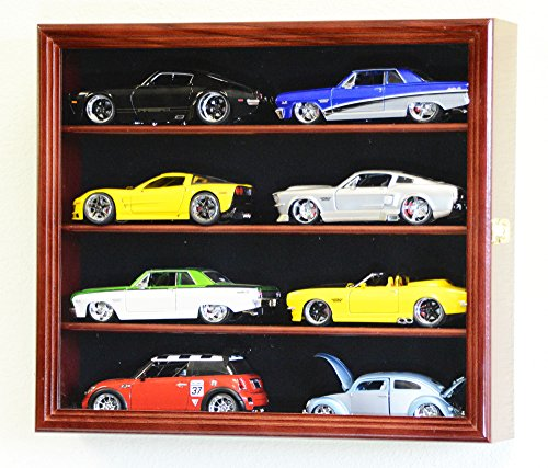 1/24 Scale Diecast Model 8 Cars Display Case Rack Holder Holds 8 Cars 1:24 (Cherry Finish)
