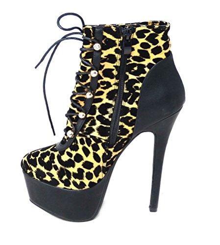 High-Heel-Stiefelette mit Plateausohle für Damen, mit Reißverschluss, Schuhgrößen Leopard (r149)
