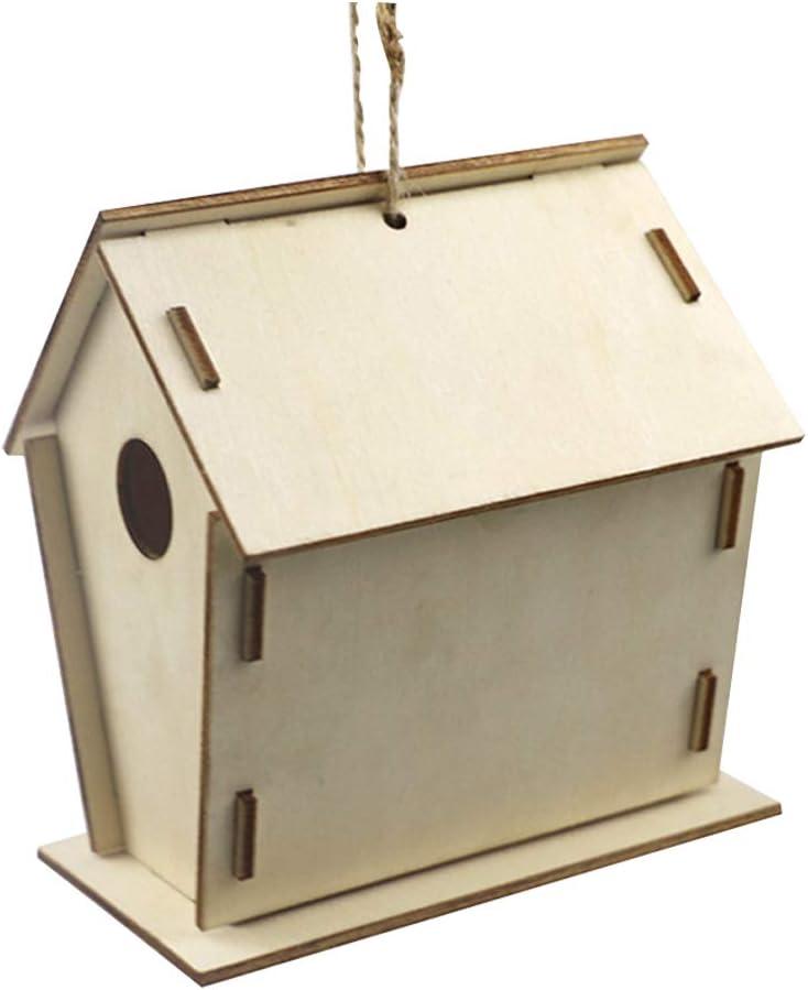 AmandaJ - Mini pajarera de madera para niños, casas de pájaros para pintar con juego de brochas, No nulo, Como se muestra en la imagen, Tamaño libre