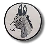 [Single Count] Custom and Unique (4 1/4'' x 4'' Inch) Round Detailed Realistic Animal Farm Barn Donkey Design Iron & Stick On Adhesive Embroidered Applique Patch {Grey, White & Black Colors}