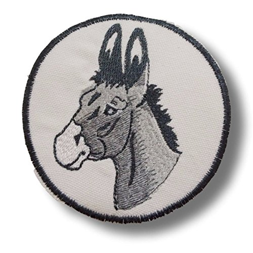 [Single Count] Custom and Unique (4 1/4'' x 4'' Inch) Round Detailed Realistic Animal Farm Barn Donkey Design Iron & Stick On Adhesive Embroidered Applique Patch {Grey, White & Black Colors} by mySimple Products