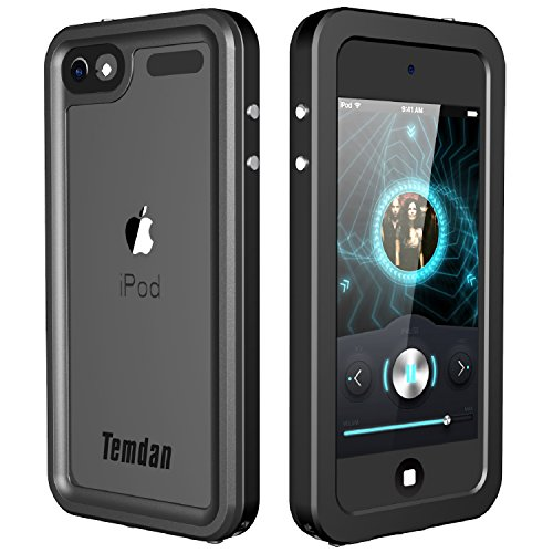 Temdan iPod Touch 5/6 IP68 Metal Frame Waterproof Case with Kickstand Shockproof Metal Protective Case for iPod Touch 5/6 (Metal Black)