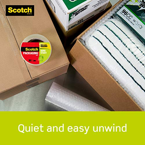 Scotch Sure Start Shipping Packaging Tape 6 Rolls with Dispenser 188 x 222 Yards 2 Core Great for