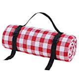 SHKY Picnic Blankets Outdoor Carpet Mat Red and White Grid - Waterproof Extra Large   Beach Blanket Sand,for Spring Travel, Camping, Hiking,300x300cm