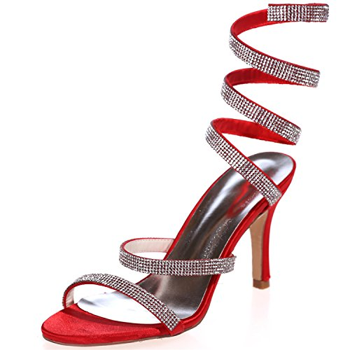 Party 5 Kurve Kristall 4 Glitzer 10 Schuhe Heels Mädchen 7 Nachtclub Pumps Sarahbridal UK mit Strass für Sexy Satin UK Frauen S Größe SZXF9920 nqFxtB7