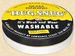 "Hug Snug Seam Binding 100-yds Roll ½"" Wide Hug Snug ~ White ~ 100 Percentage Woven-edge Rayon ~ Wash 'N Wear ~ Made in USA-1 Roll PURE WHITE"