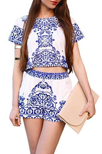 Moxeay® Ladies Chinese White and Blue Porcelain Floral Printed Dress Top Two Pieces (S/4)