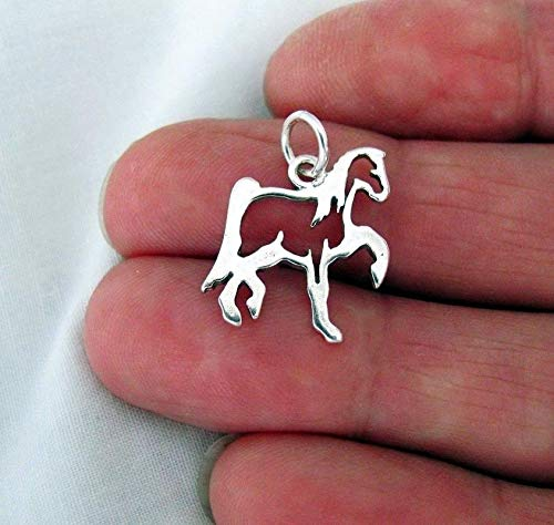 Lot of 1 Pc.Sterling Silver Western Style Horse Outline Satin Finish Charm Vintage Crafting Pendant Jewelry Making Supplies - DIY for Necklace Bracelet Accessories by CharmingSS