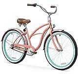 "sixthreezero Women's 3-Speed Beach Cruiser Bicycle, Paisley Coral Pink w/Brown Seat/Grips, 26"" Wheels/17 Frame"