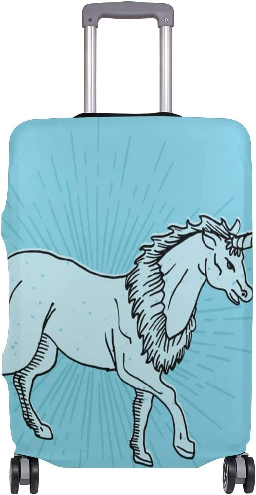 LEISISI Unicorn Line Drawing Luggage Cover Elastic Protector Fits XL 29-32 in Suitcase