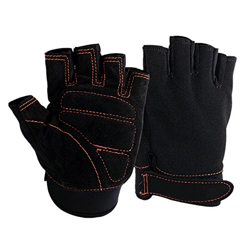 VANCIC Unisex Grip Fingerless Gym Gloves Thickening Palm (3MM Thick Mutispandex) Anti-Slip Ventilated Mittens for Outdoor Sports,Work,Workout,Training,Fitness,Exercise (One Size (Fits 7-8 Inches))
