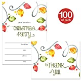 Christmas Party Invites ( 100 ) & Thank You Cards ( 100 ) Matched Set with Envelopes Bright Holiday Lights Fill-in Invitations & Folded Thank You Notes for Large Office Church Parties Best Value Pair