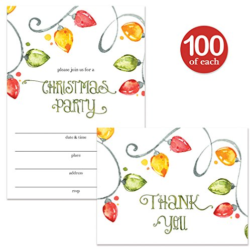 Christmas Party Invites ( 100 ) & Thank You Cards ( 100 ) Matched Set with Envelopes Bright Holiday Lights Fill-in Invitations & Folded Thank You Notes for Large Office Church Parties Best Value Pair by Digibuddha