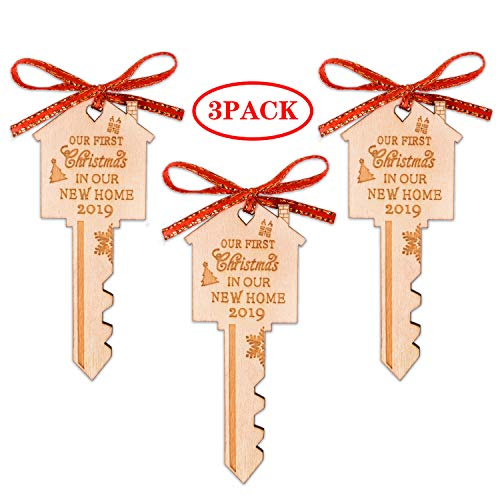 First Christmas in Our New Home Wooden Key Christmas Ornament 2019 for Housewarming, Xmas Tree and Holiday Decoration (3 Pack) (Our Card First Christmas)