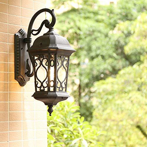 Rishx Popular Retro Outdoor Wall Light Fixture Rainproof Rustproof Aluminum LED Wall Lamp Europe Villa Glass Sconce Lighting Waterproof Exterior Doorway E27 Wall Lantern (Color : Black)