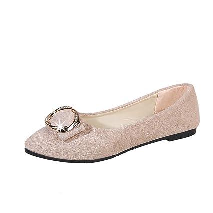c992661b757 LILICAT✈✈ Mujer Sandalias Zapatos Planos Zapatos de Mujer Hebilla Redonda  Boca Baja Ante Zapatos