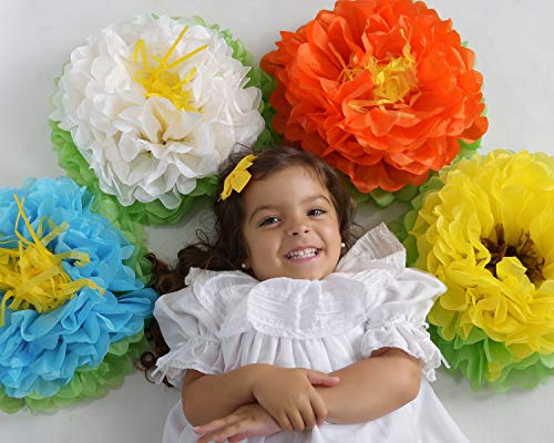 Birthday Party Decorations Paper Flowers Mix (4 Colors 8 Pieces) ! Pack of 8 PC Giant 15 Flower Pom Poms for Baby Shower ! Beautiful Blooming Flowers. Great for Nursery Wall Backdrop Decor Wedding