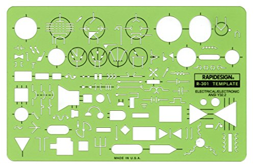 Rapidesign Standard Electrical/Electronic Symbols Template, 1 Each (R301) by RAPIDESIGN (Image #1)