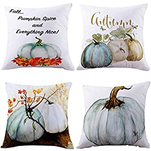Highpot 4PC Pumpkin Pillow Cover Halloween Thanksgiving Decor Pillow Case Sofa Waist Throw Cushion Cover (Blue)