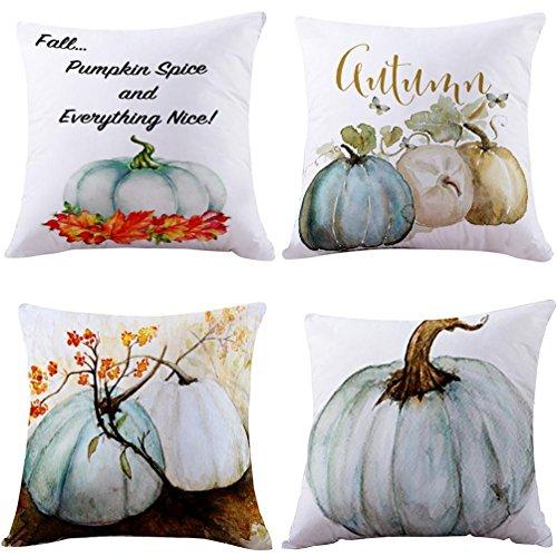Highpot 4PC Pumpkin Pillow Cover Halloween Thanksgiving Decor Pillow Case Sofa Waist Throw Cushion Cover (Blue) (Thanksgiving Pillows)