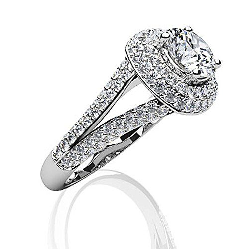 Or blanc 14K Captivante double Halo Diamant Bague de fiançailles