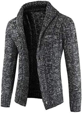 ZUOMAカーディガン メンズ ニットコート 長袖セーター 前開き カットソー ラペル コーディネート 着回し 防寒 無地 ケーブル編み