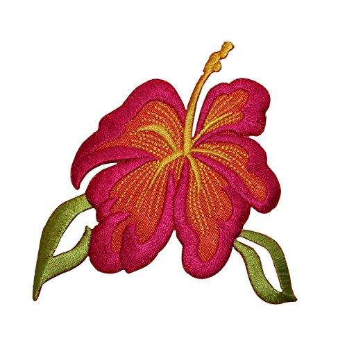 ID 6327 Pink Hibiscus Flower Patch Exotic Hawaii Embroidered Iron On Applique