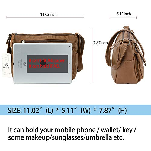 Ladies Crossbody Women Handbags Bags ZORFIN Bags Purses Leather Brown Shoulder Pockets for Small with and qCHzwE