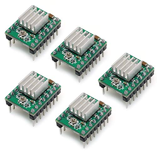 - AiTrip A4988 Compatible StepStick Stepper Motor Diver Module with Heat Sink for 3D Printer Controller Ramps 1.4 Pack of 5pcs