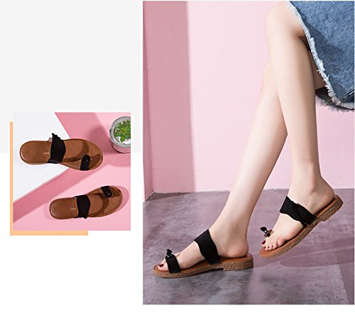 Summer New Casual, Low Heeled Fashion Lace Toe Slippers Black