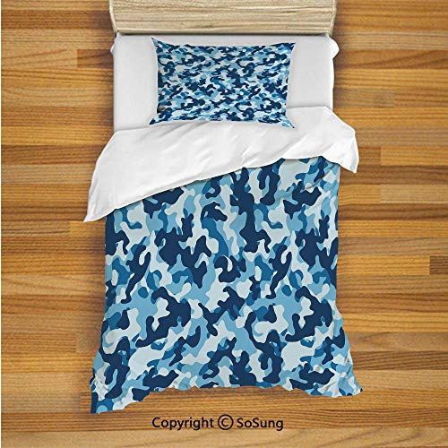 SoSung Camouflage Kids Duvet Cover Set Twin Size, Military Infantry Marine Troops Costume Pattern Vibrant Color Palette Surreal Decorative 2 Piece Bedding Set with 1 Pillow Sham,Blue Coconut]()