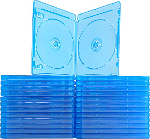 (25) Empty Standard Double Blue Replacement Boxes / Cases for Blu-Ray Disc Movies BR2R12BL (Disc Double Case)