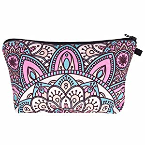 Kukubird Unicorn Emoji Flamingo Animals Make Up Bag Wash Bag Toiletry Cosmetics Wallet Pencil Pen Holder Organiser Pouch Case - Mandala Turquoise Pink