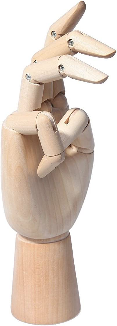 Wooden Mannequin Hand 7 Inch - Realistic Wood Hand Model Posable Manikin Hand - Opposable Sectioned Artist Hand Model for Arts Drawing, Sketching, Painting, Jewelry Display - Right Hand
