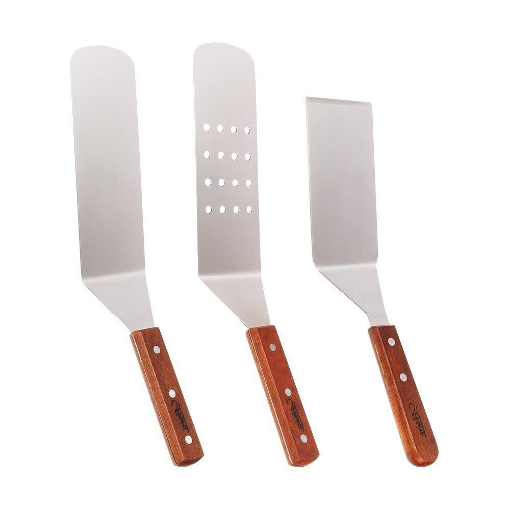 Pfannenwender-Set aus Edelstahl, Koch- und Grillutensilien, glatte und perforierte Pfannenwender und Schaber mit Holzgriffen für Teppanyaki-Grills und Backbleche, 3 Stück