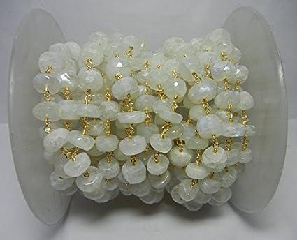Cadena de cuentas de piedra lunar arcoíris de 9 – 10 mm, cadena de rosario con piedras semipreciosas y cadena de cuentas de 9 – 10 mm, chapada en oro