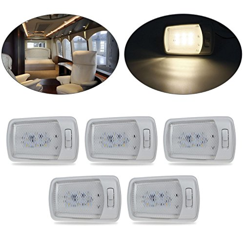 Frosted Dome Lens - Partsam 5PCS Euro Style Warm White 9-2835-SMD LED RV Interior Ceiling Lamp Single Dome Light Fixture with Switch and Removable Lenses for RV Motorhomes Campers Trailers