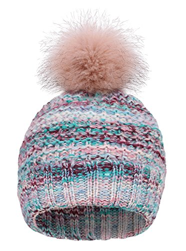 EPGU Women's Heathered Cable Knit Pom Pom Beanie Hat With Sherpa Lined, Mix Red - Red Blue Mix