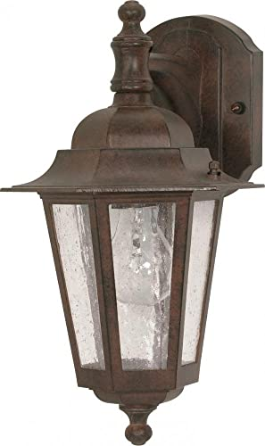 Nuvo 60 989 Arm Down Wall Lantern with Clear Seeded Glass, Old Bronze