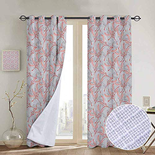 NUOMANAN Blackout Curtains Leaves,Mother Nature Tree of Life Branches Folk Nostalgia Celebration Print, Pale Grey Pink Dark Coral,for Bedroom,Nursery,Living Room 84