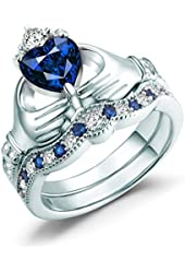 Claddagh Ring, Irish Claddagh Friendship Heart Created Blue Sapphire Bridal Rings Set Sterling Silver