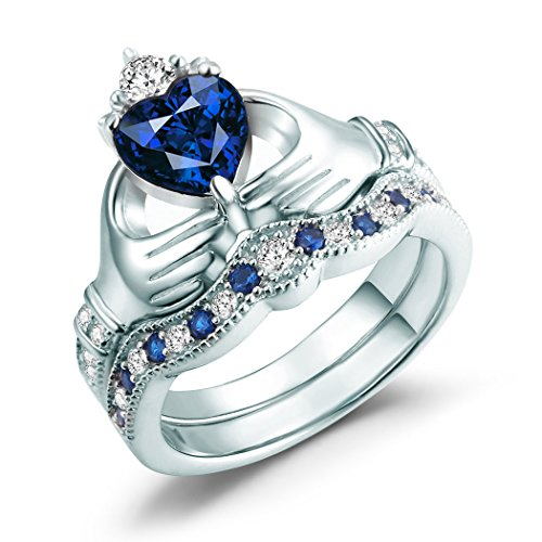 Claddagh Ring, Irish Claddagh Friendship & Love Heart Created Blue Sapphire Bridal Rings Set Sterling Silver size 6