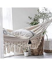 SanZHONGsd Handmade Large Macrame Fringe 2 Person Double Deluxe Hammock Swing Net Chair for Beach,, Bedroom, Patio, Porch, Indoor, Outdoor, Wedding Decor