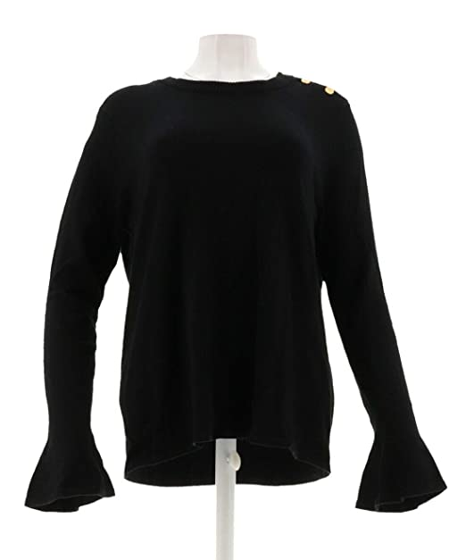 9d0778e5fcc0e Iman Runway Chic Luxurious Subtle Long Bell-SLVS Sweater Black XS New  571-655