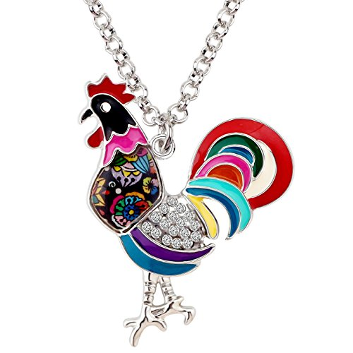 BONSNY Enamel Silvestone Farm Lover Chicken Rooster Necklace Pendant Charm Fashion Jewelry For Women Gift (Multicolored)