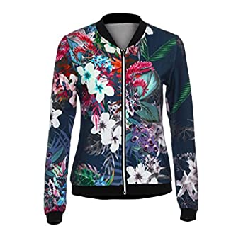 - 51D5R5RBfXL - Gillberry Women Stand Collar Long Sleeve Zipper Floral Printed Bomber Jacket