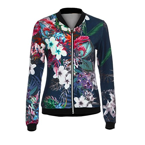 Gillberry Women Stand Collar Long Sleeve Zipper Floral Printed Bomber Jacket (Dark Blue, ()